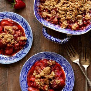 Strawberry, Raspberry and Rhubarb Crisp | completelydelicious.com