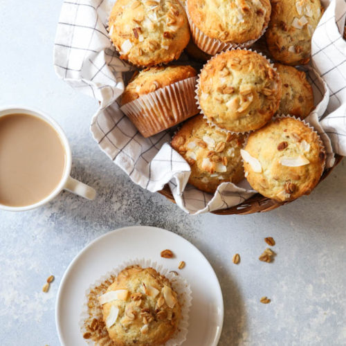 Banana Crunch Muffins are excellent for breakfast or a snack