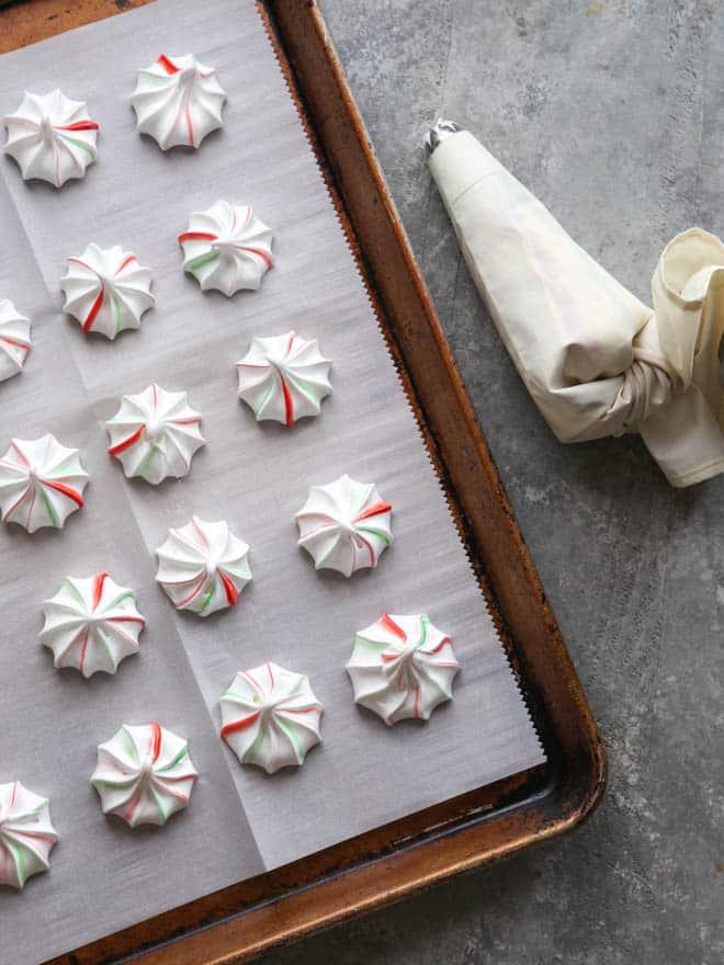Festive peppermint meringues | completelydelicious.com