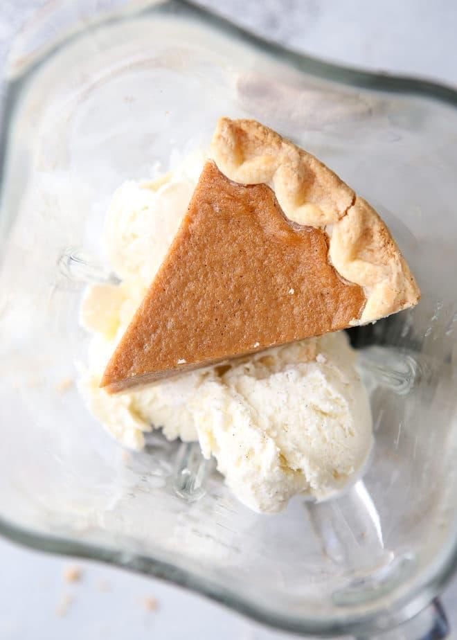 This milkshake has a whole slice of pie in it