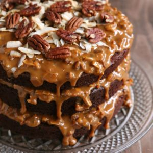 Chocolate Cola Cake with Dulce de Leche, Coconut and Pecan Icing | completelydelicious.com