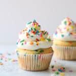 Two perfect vanilla funfetti cupcakes