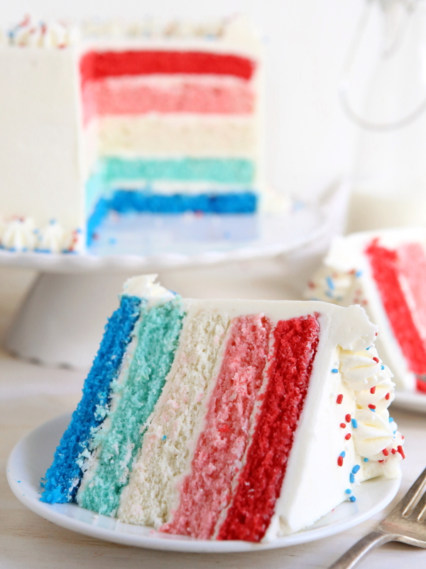 Red, White and Blue Ombré Layer Cake