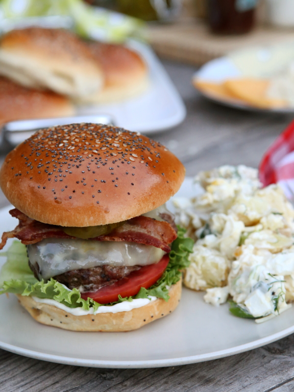 Here's a fun idea for your next backyard barbecue— a Build Your Own Burger Bar complete with the best burger patties and a buffet of toppings and condiments.