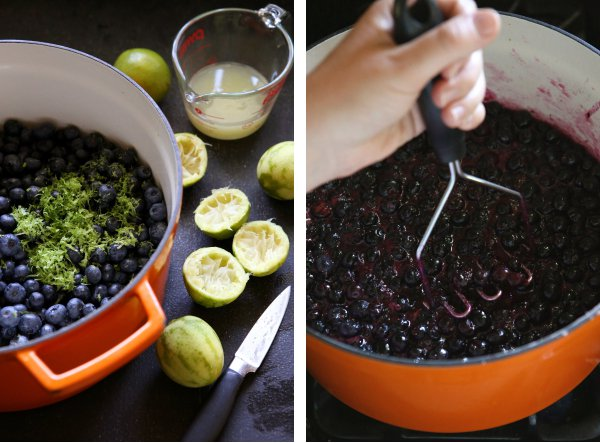Blueberry Mojito Jam - a fun twist on blueberry jam with mint and lime. From completelydelicious.com