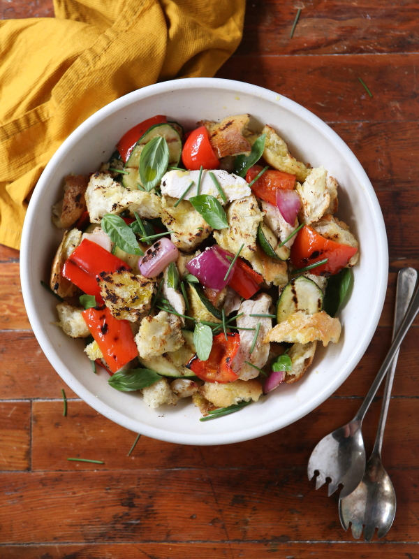 Grilled Bread Salad with Chicken Breast and Summer Vegetables from completelydelicious.com