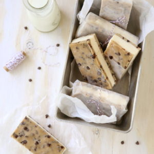 Chocolate Chip Cookie Dough Ice Cream Sandwiches from completelydelicious.com
