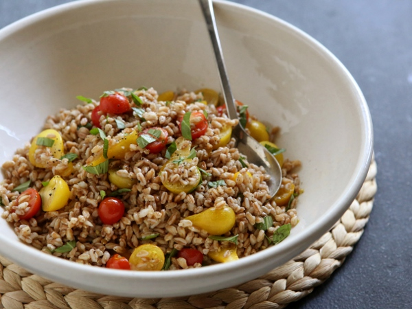 Lemony Farro Salad With Basil And Tomatoes Recipes — Dishmaps