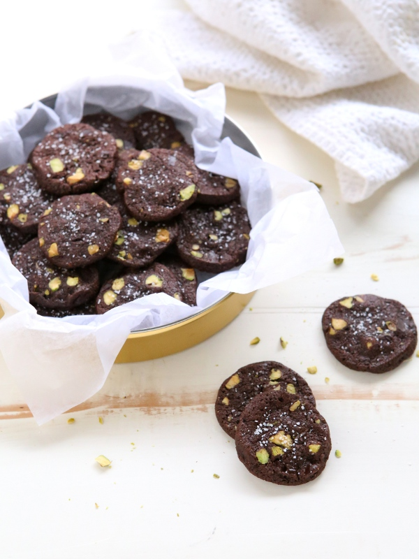 Salted Chocolate Pistachio Cookies | completelydelicious.com