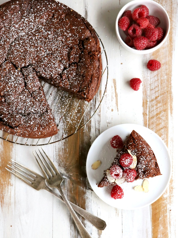 Chocolate Almond Souffle Cake | completelydelicious.com