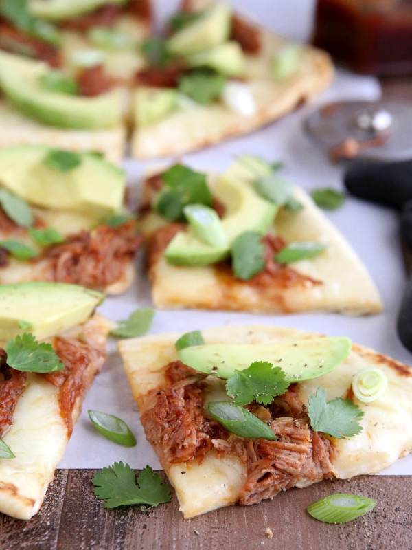 BBQ Pulled Pork and Avocado Flatbread Pizzas | completelydelicious.com