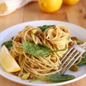 Lemon-Pistachio Spaghetti with Spinach | completelydelcious.com