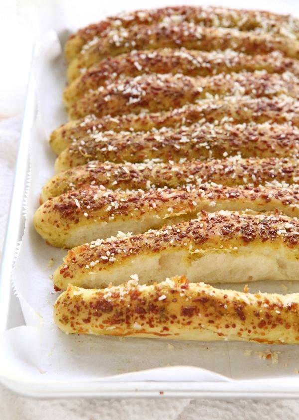 Pesto Parmesan Pull Apart Breadsticks | completelydelicious.com