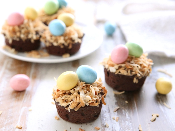 Coconut Brownie Bite Easter Nests | completelydelicious.com