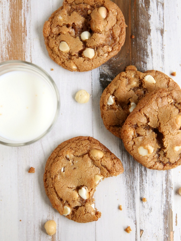 Toffee White Chocolate Macadamia Nut Cookies | completelydelicious.com