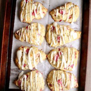 Rhubarb Vanilla Bean Scones | completelydelicious.com