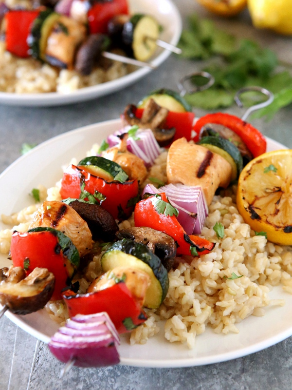 Grilled Lemon-Cilantro Chicken & Veggie Skewers | completelydelicious.com