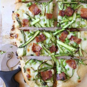 Shaved asparagus, pea and bacon pizza from completelydelicious.com