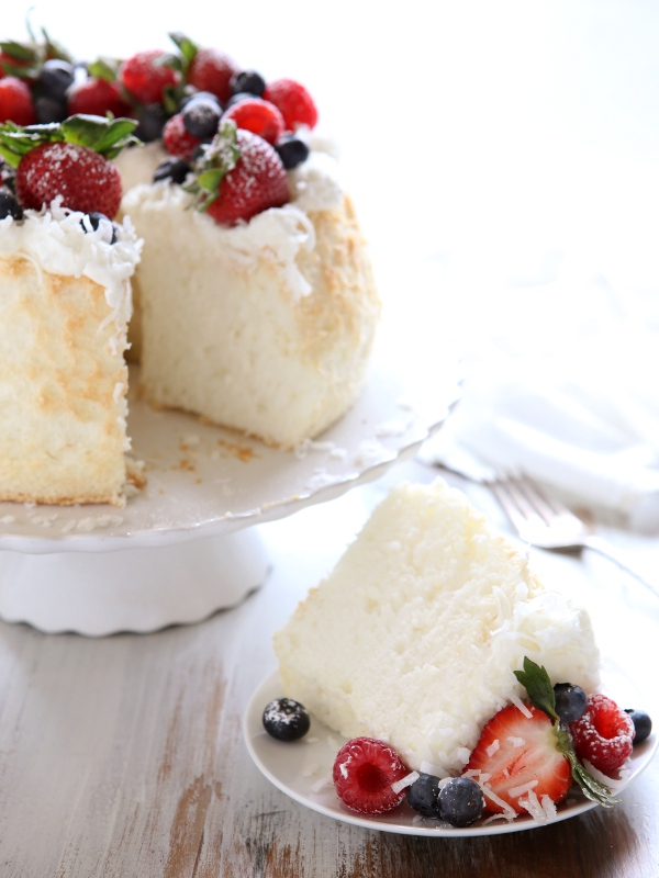 Coconut Angel Food Cake With Berries Completely Delicious