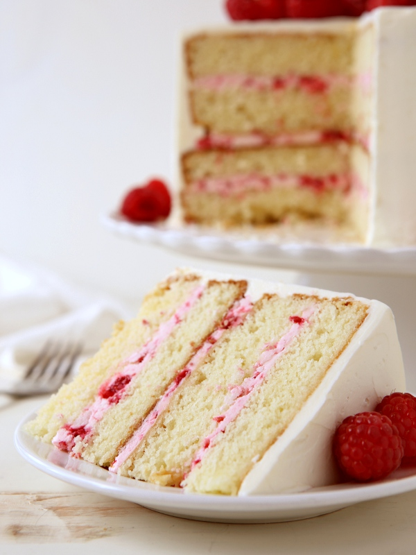 White Layer Cake With Raspberry Filling