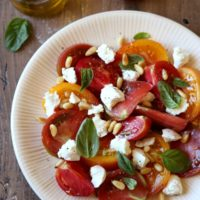 Tomato Salad with Goat Cheese and Pine Nuts | completelydelicious.com