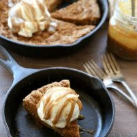 Brown Butter Oatmeal Skillet Cookie with Butterscotch Sauce | completelydelicious.com