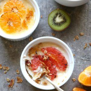 Yogurt Brûlée with Winter Fruit | completelydelicious.com