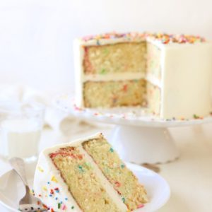 Funfetti Cake with Fluffy Vanilla Frosting | completelydelicious.com