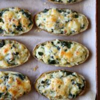 Spinach and Cheddar Twice-Baked Potatoes   completelydelicious.com