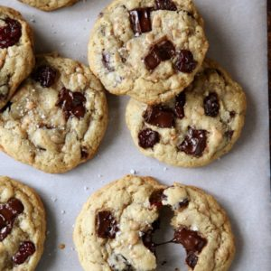 Chocolate Toffee Oatmeal Cookies with Dried Cherries | completelydelicious.com