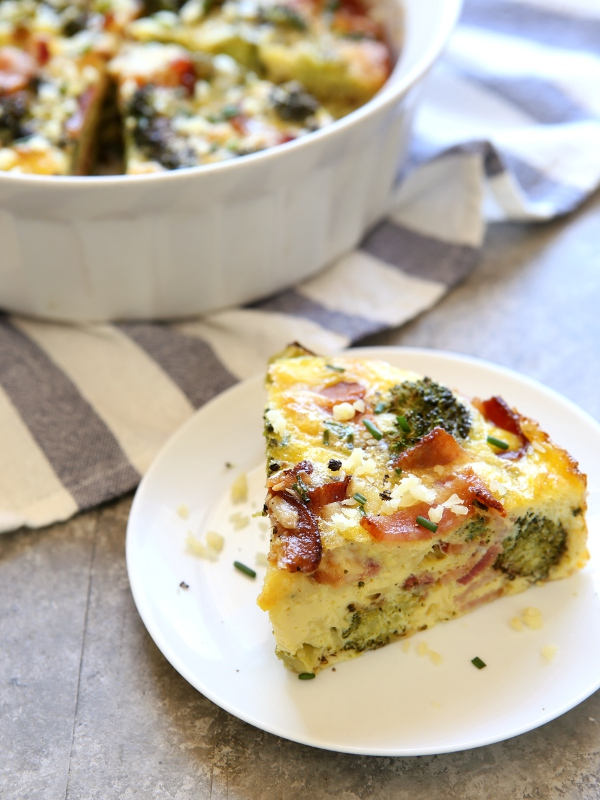 Broccoli and Bacon Crustless Quiche | completelydelicious.com