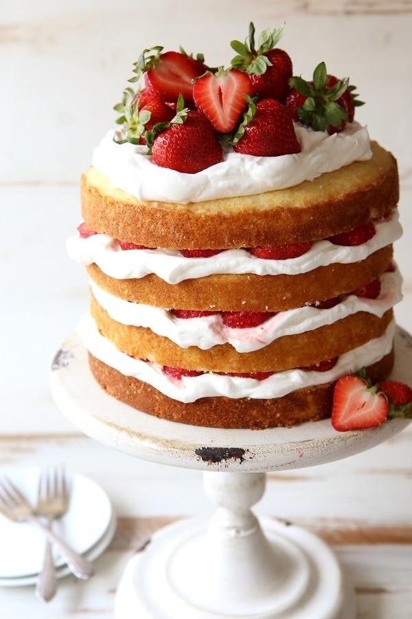 Yellow Layer Cake With Strawberries