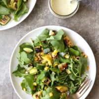 Grilled Squash, Corn and Kale Salad with Sunflower Seed Dressing | completelydelicious.com
