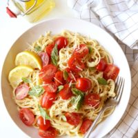 Lemon Pasta with Tomatoes and Basil   completelydelicious.com