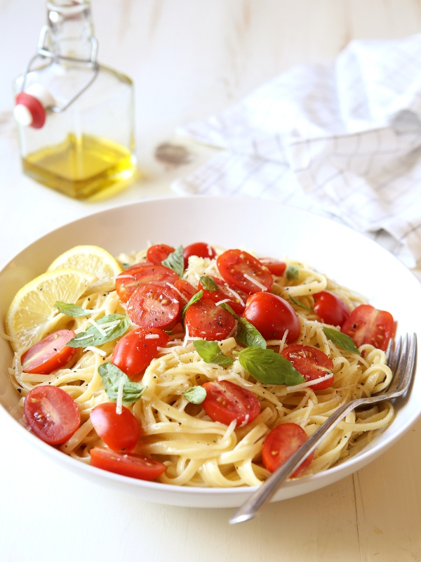Lemon Pasta with Tomatoes and Basil - Completely Delicious
