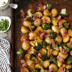 Loaded Baked Potato Sheet Pan Dinner! from completelydelicious.com