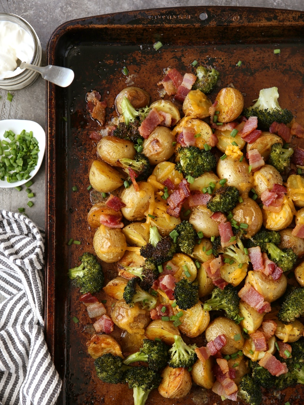 Loaded Baked Potato Sheet Pan Dinner Completely Delicious