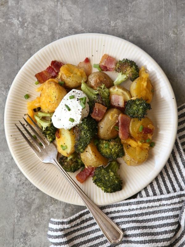 Loaded Baked Potato Sheet Pan Dinner! from completelydelicious.com