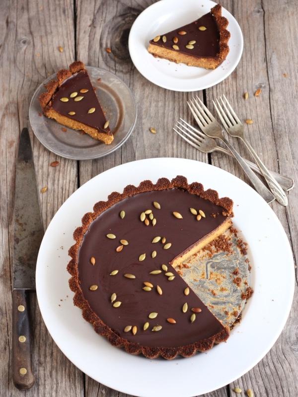 Chocolate Pumpkin Tart with Gingersnap Crust