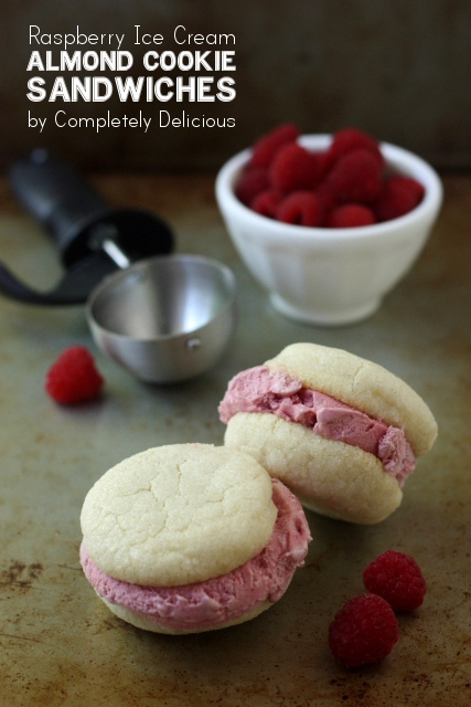Raspberry Ice Cream and Almond Sugar Cookie Sandwiches - Completely ...