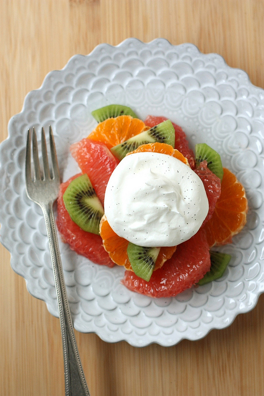 Winter Fruit Salad with Vanilla Whipped Cream - Completely Delicious