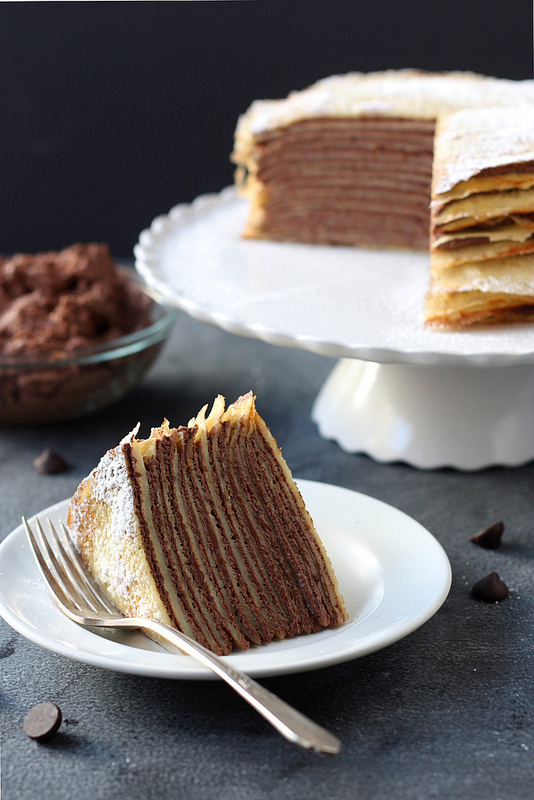 Crepe Cake With Whipped Chocolate Ganache Completely