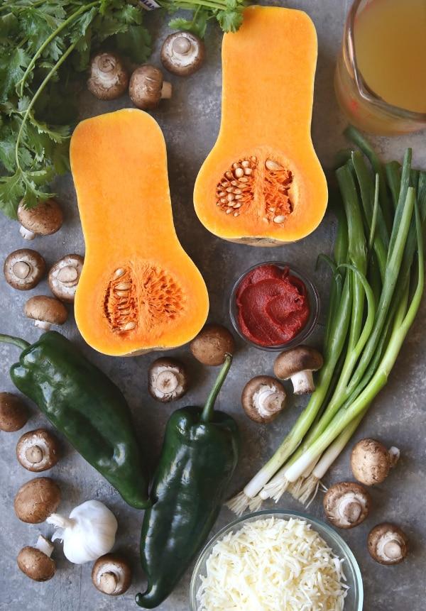 Butternut squash, mushroom and poblano enchiladas | completelydelicious.com