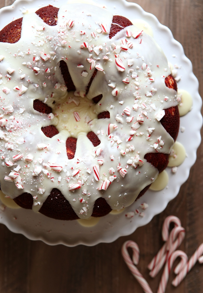Peppermint Red Velvet Bundt Cake with Cream Cheese Filling and White Chocolate Ganache | completelydelicious.com