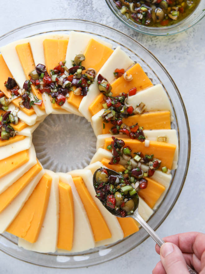 Marinated Cheese Wreath. Perfect for holiday parties! | completelydelicious.com