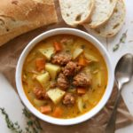 Nice and cozy Potato Leek Soup with Italian Sausage | completelydelicious.com