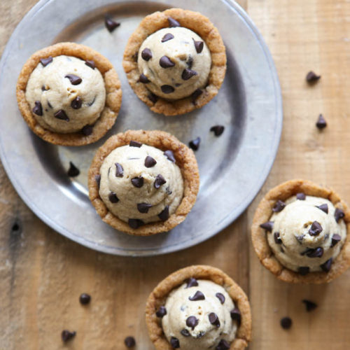 Chocolate Chip Cookie Cups with Cookie Dough Frosting | completelydelicious.com