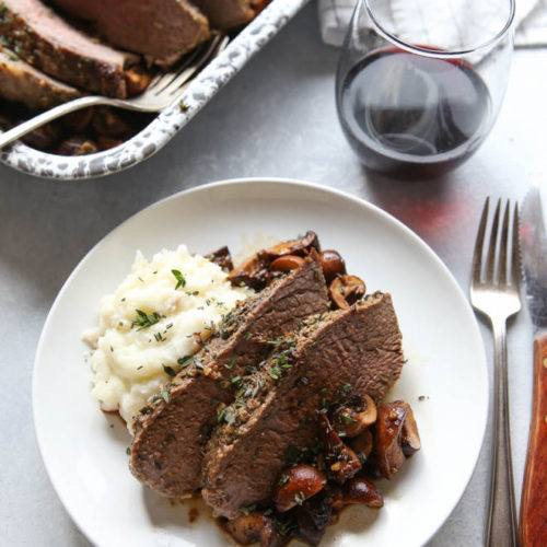 Garlic Herb Roasted Tri-Tip and Mushrooms | completelydelicious.com