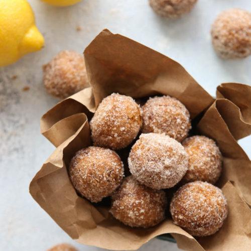 Lemon Cinnamon-Sugar Doughnut Holes | completelydelicious.com