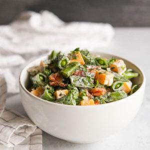 Sugar Snap Pea and Bacon Salad | completelydelicious.com